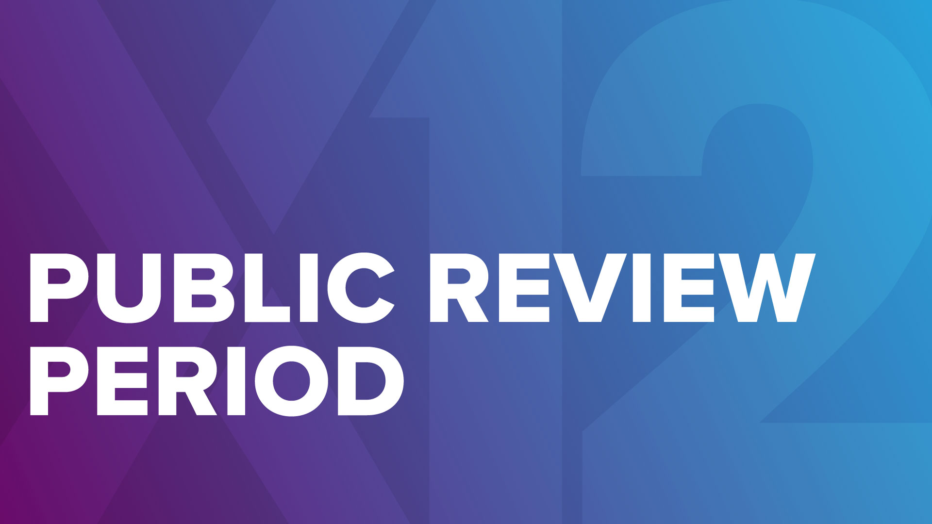 X12 Logo and the words Public Review Period